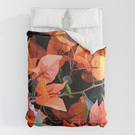 Vibrant Tangerine And Cantaloupe-Colored Flowers Comforters