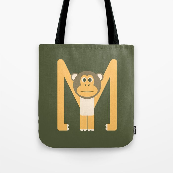 Letter M // Animal Alphabet // Monkey Monogram Tote Bag