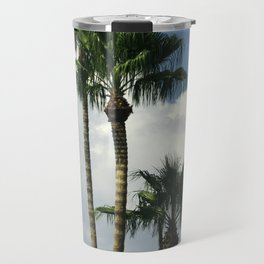 Palm Trees In Big White Billowy Clouds Travel Mug