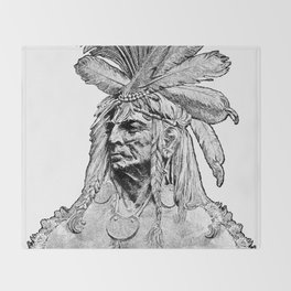 Chief / Vintage illustration redrawn and repurposed Throw Blanket