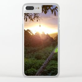 A Topical Sunset Over the Mountains from Tamavua Clear iPhone Case