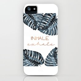 Inhale Exhale, Monstera Leafs, copper iPhone Case