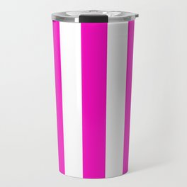 Shocking pink - solid color - white vertical lines pattern Travel Mug