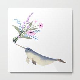 Narwhal Flowers Pink Lavender Metal Print