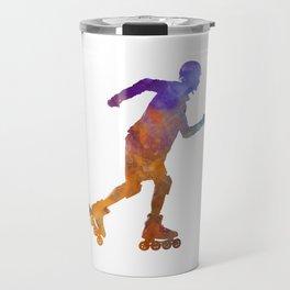 Man roller skater inline 03 in watercolor Travel Mug