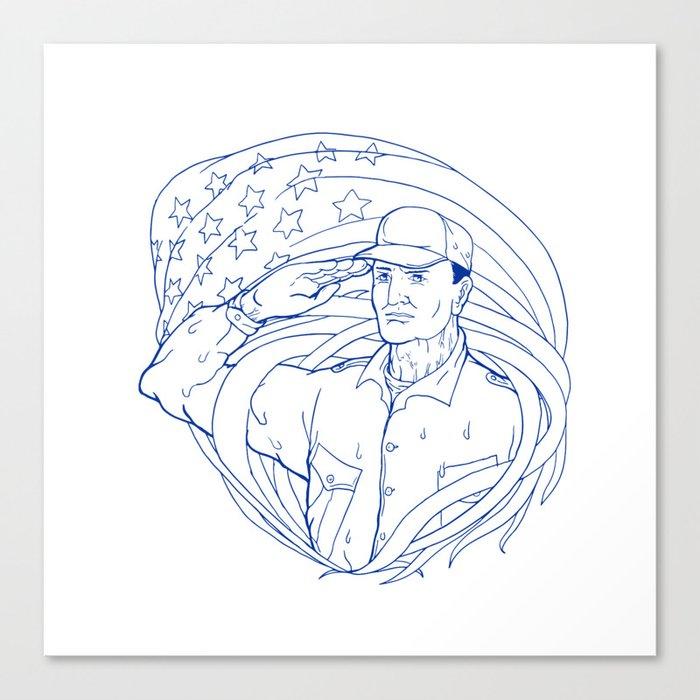 American Soldier Salute Flag Ukiyo-e Canvas Print