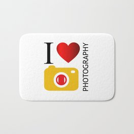I love photography- Photography lovers passion- yellow camera Bath Mat