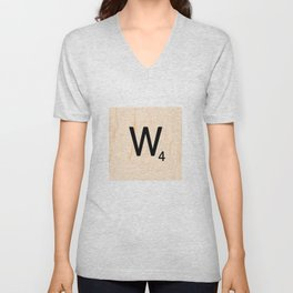 Scrabble Letter W - Scrabble Art and Apparel Unisex V-Neck