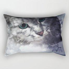 Green-eyed Kitty Peering Through the Cloudy Bush Rectangular Pillow