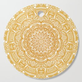 Golden Mustard Yellow Orange Ethnic Mandala Detailed Cutting Board
