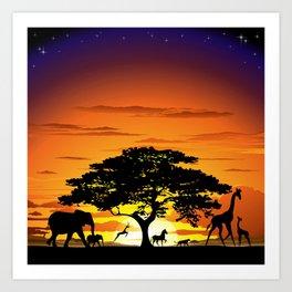 Wild Animals on African Savanna Sunset Kunstdrucke