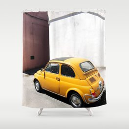 Yellow Tiny Car Shower Curtain