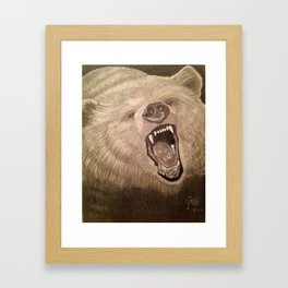 A Grizzly Encounter Framed Art Print