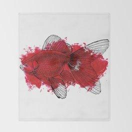 big red fish Throw Blanket