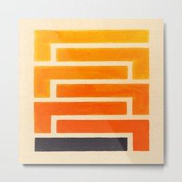 Orange & Black Geometric Pattern Metal Print