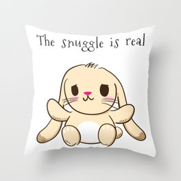 The Snuggle is Real Bunny Throw Pillow