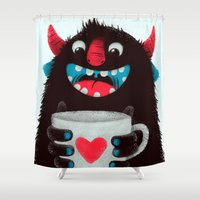 demon Shower Curtains featuring Demon with a cup of coffee (contrast) by Lime