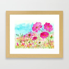 Symphony In Pink, Watercolor Wildflowers Framed Art Print