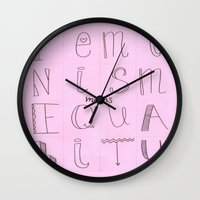 feminism Wall Clocks featuring Feminism = Equality  by noeggsy