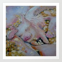 Pig Pile by Nancy McGrath Art Print