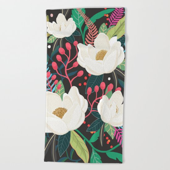 The Garden of Alice, flower, floral, blossom art print Beach Towel