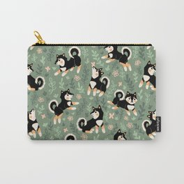 Playful Black And Tan Shiba Inu Pattern Carry-All Pouch