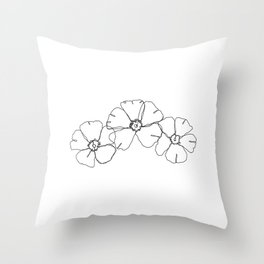 Floral one line drawing - Rita Throw Pillow