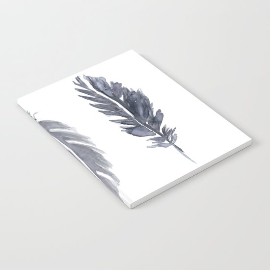 Black watercolor feathers Notebook