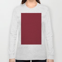 Burgundy Red Solid Color Long Sleeve T-shirt