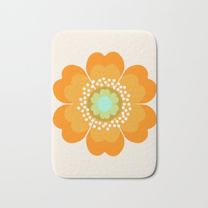 Jivin' - 70's retro throwback art floral flower motif decor hipster Bath Mat