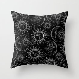 Black Magic Celestial Sun Moon Stars Throw Pillow