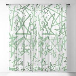 Helping Stars Green Sheer Curtain