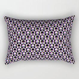 Glitch Checkered Skulls Pattern IV Rectangular Pillow