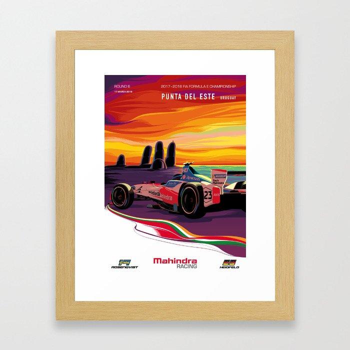 Mahindra Racing FIA Formula E Season 4 Punta Del Este E-Prix Poster Framed Art Print