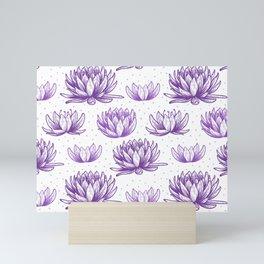 Purple Lotus Flowers Beautiful Simple Flower Pattern Mini Art Print