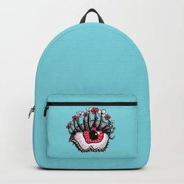 Eye Melt - Weird Red Eye With Flower Eyelashes Backpack