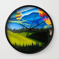 hot air balloons Wall Clocks featuring Acrylic Hot Air Balloons by Megan White