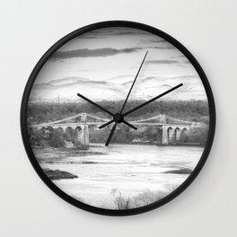 Menai Bridge Winter B&W Wall Clock