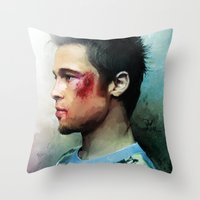 tyler durden Throw Pillows featuring Brad Pitt 'Tyler Durden' The Fight Club by Vlad Rodriguez