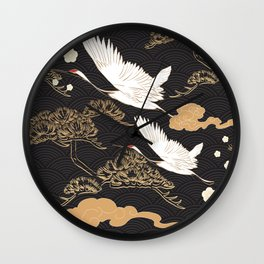 Japanese seamless pattern with crane birds and bonsai trees Wall Clock