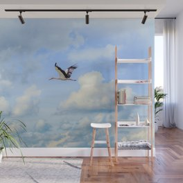 Flying stork Wall Mural