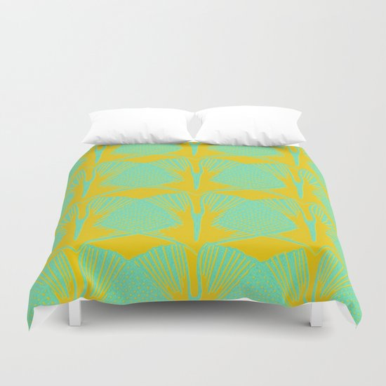 ginkgo pattern in deep yellow and turquoise Duvet Cover