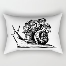 Mushroom Snail Linocut Rectangular Pillow