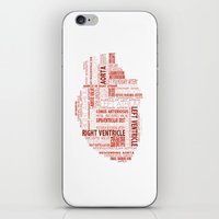 anatomical heart iPhone & iPod Skins featuring Anatomical Heart Typography by Compass Ink