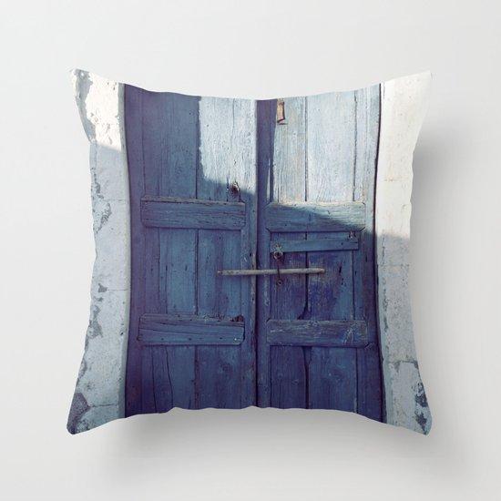Santorini Door I Throw Pillow