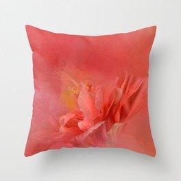 Salmon Hibiscus 3 - Floral Throw Pillow