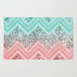 Summer Vibes Glitter Chevron #1 #coral #mint #shiny #decor #art #society6 Rug