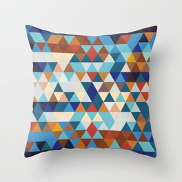 Geometric Triangle Blue, Brown  - Ethnic Inspired Pattern Throw Pillow