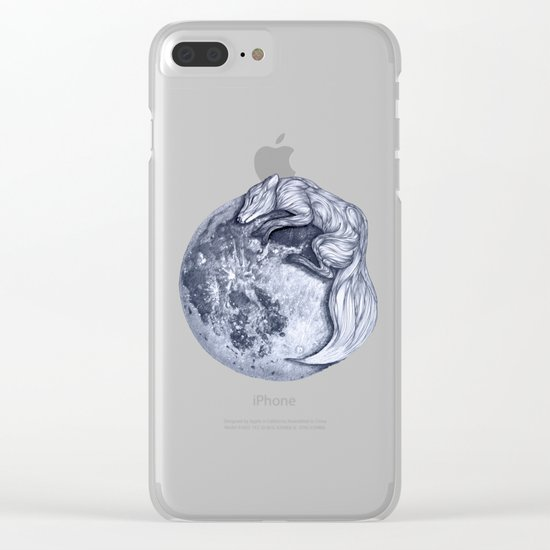 Blue Moon Fox Clear iPhone Case