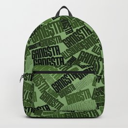 GANGSTA jungle camo / Green camouflage pattern with GANGSTA slogan Backpack